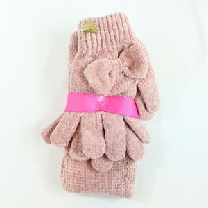 Betsey Johnson Pink Headband & Glove Bow Set